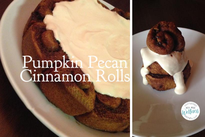 Pumpkin pecan cinnamon rolls with orange frosting breakfast recipe