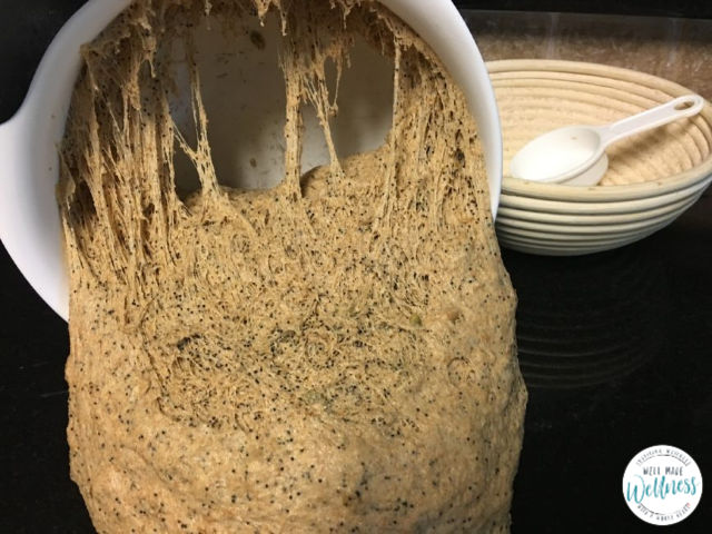 Bread dough with stringy, gluten