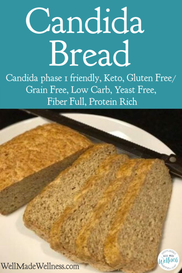Candida Bread recipe for bread that's dense but slices like wheat bread. Candida Diet Phase 1, Keto, Gluten Free, Grain Free, Low Carb, Yeast Free, Fiber full, Protein rich. Even great for breakfast or a fast snack. #candidadiet #CandidaPhase1 #candidabread #breadrecipe #keto #glutenfree #grainfree #lowcarb