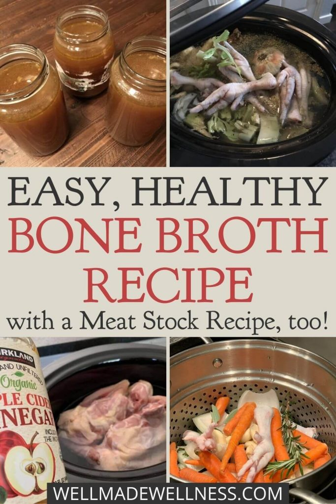 Have you ever looked for an easy bone broth recipe or one for meat stock? Turn my meat stock recipe into bone broth with two easy changes. My recipes are always nutrient dense. Bone broth and meat stock are staples in many ancestral, paleo kitchens. My easy bone broth and chicken stock recipes may suit a wide array of special diets: GAPS, AIP, Paleo, Keto, Carnivore Diet, Candida, DASH, Feingold, Diabetes, Weston A. Price, Whole30 and Low-Carb. #bonebroth #meatstock #chickenstock #recipe